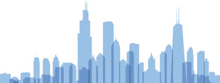 Transparent styled skyline silhouette of the city of Chicago, Illinois, USA.