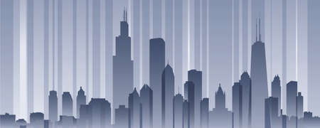 banded: Banded skyline silhouette of the city of Chicago, Illinois, USA.