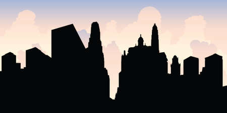 Skyline silhouette of the city of Chicago, Illinois, USA.