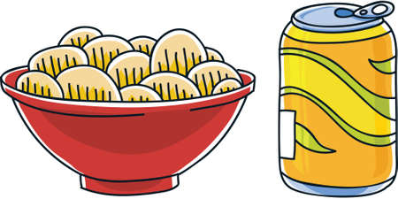 soda pop: Cartoon can of soda pop and a bag of salty potato chips.