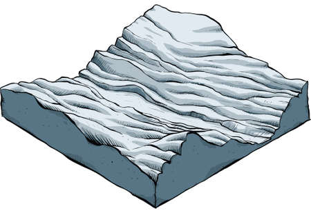 An isometric section of a barren, rugged landscape.