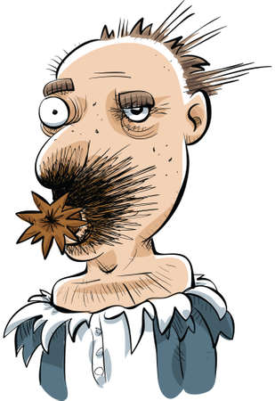 A cartoon man with an exploded, prank cigar on his face