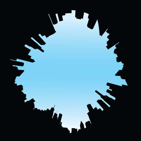 fisheye: A 360 degree view of a city skyline silhouette