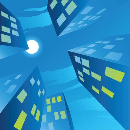 Keek naar de cartoon volle maan boven een stad Stockfoto