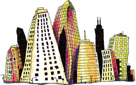 Illustration of groovy downtown buildings in a city