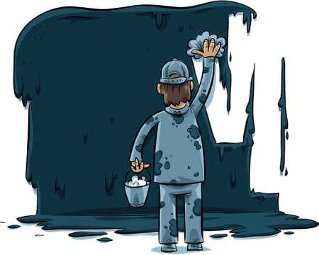 A cartoon man wipes away a large, dark splotch of paint