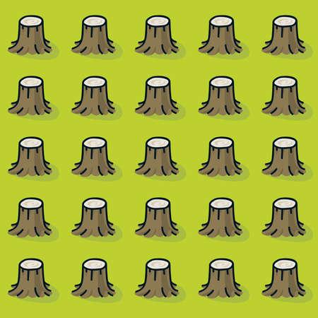 Cartoon boomstronken in een bos dat volledig naar beneden werd gesneden