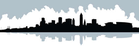 クリーブランド、オハイオ州、アメリカ合衆国の都市のスカイラインのシルエット。