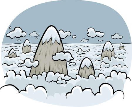 poke': Cartoon mountains poke through the clouds. Stock Photo