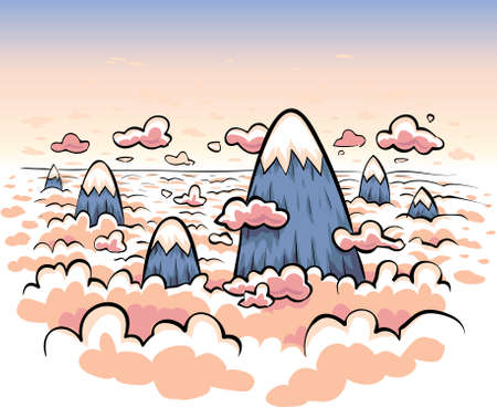 Cartoon mountains poke through the clouds at sunset.