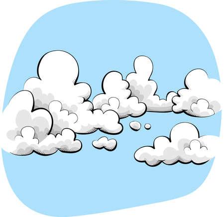 부드럽고 친절한 구름과 하늘 만화.