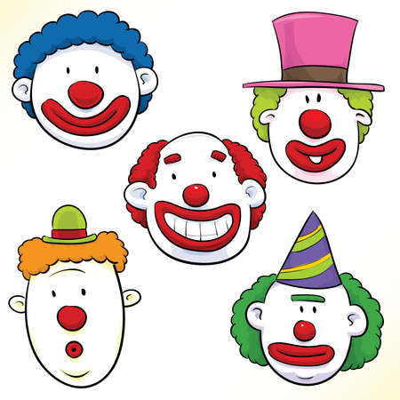 clown face: A set of five cartoon clown faces with funny expressions.
