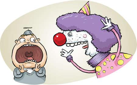 comedy: A strange clown scares a little boy. Stock Photo