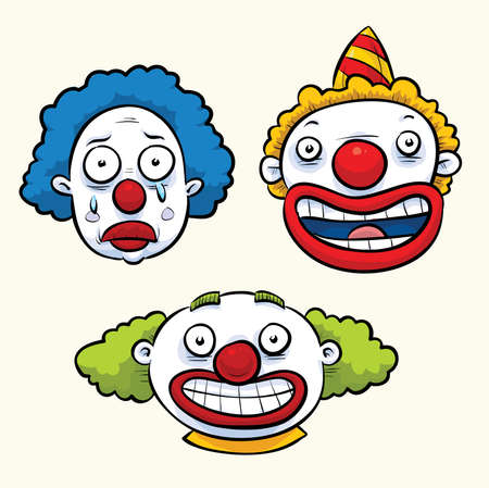 human face: A set of three cartoon clown faces with funny expressions.