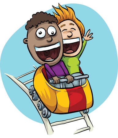 A young, cartoon couple are excited on a speeding roller coaster. Stock Photo