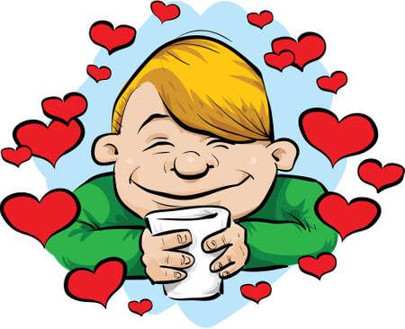 Een cartoon man, omringd door hartjes als hij geniet van zijn koffie.