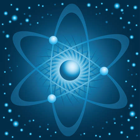 gravitational field: Illustration of a cold, blue atom with orbiting electrons