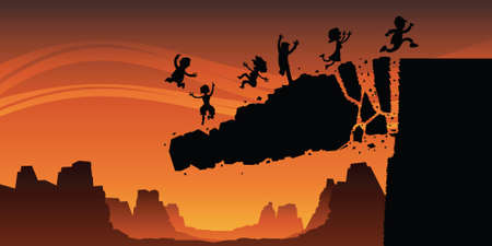Cartoon silhouette of a rock cliff collapsing, sending a group of people to their doom   Фото со стока
