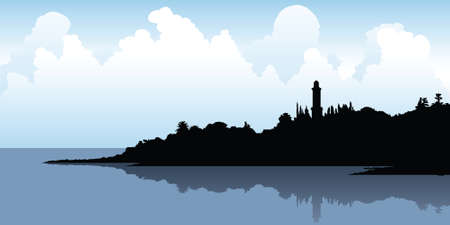 Silhouette of the waterfront at Colonia, Uruguay