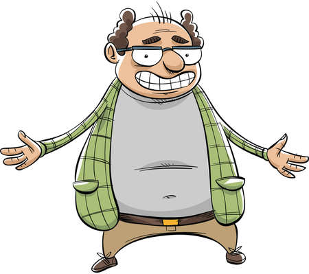 beer belly: A smiling, cartoon comedian about to tell some jokes