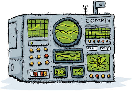 old pc: A cartoon, retro computer