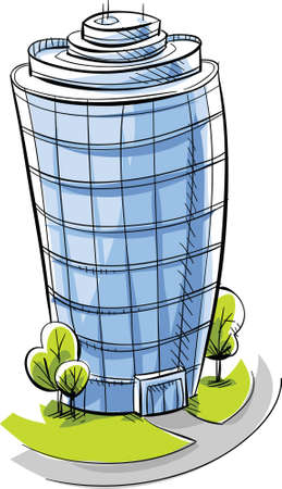 A cartoon, glass condo tower  Stock fotó