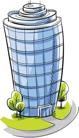 condo: A cartoon, glass condo tower  Stock Photo