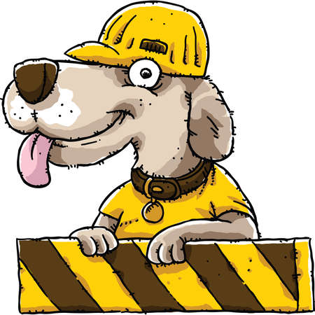 construction worker cartoon: A friendly cartoon dog at a construction barricade