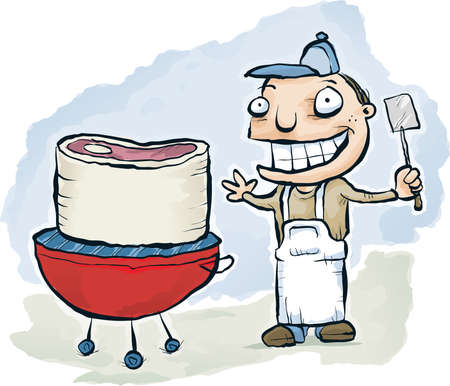 really: A cartoon cook barbeques a really thick steak. Stock Photo