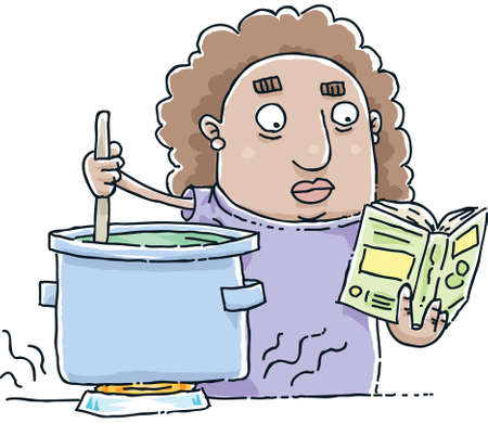 soup pot: A cartoon woman follows a recipe in a cookbook as she stirs a pot. Stock Photo