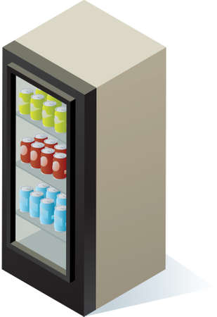 soda pop: An isometric beverage cooler with cans of drink inside.