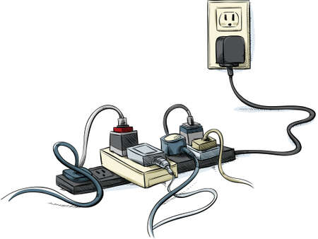 overheat: Cartoon power cords and bars combined in a tangle.