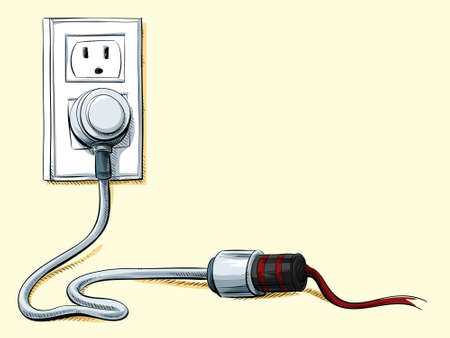 Cartoon power cord plugged into an extension and a wall socket.
