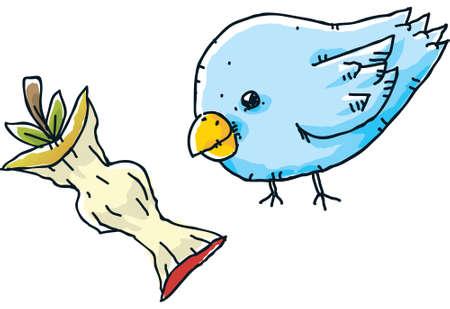 apple core: A cartoon bird with an apple core snack. Stock Photo