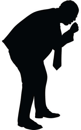 A silhouette of a businessman having a painful cough.