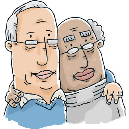 Two cartoon senior men form a loving gay couple.