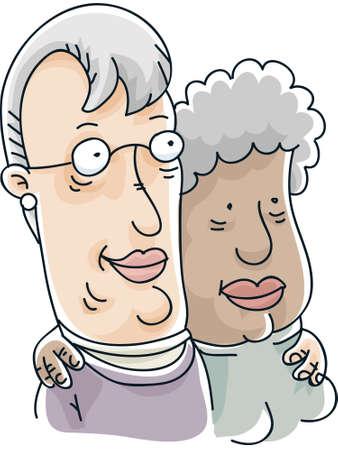 Two cartoon senior women form a loving lesbian couple.