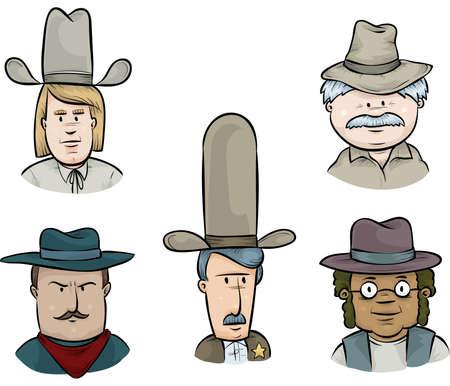 Een cartoon set van vijf cowboy gezichten. Stockfoto