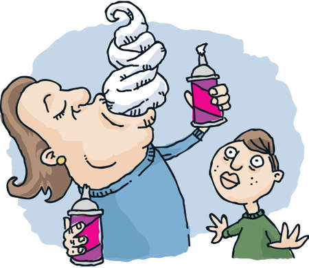 eating right: A cartoon man eating whipped cream right from the spray can  Stock Photo