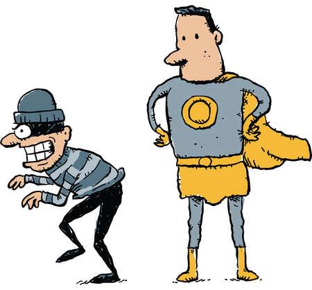 A cartoon superhero prepares to catch an unaware, cartoon criminal