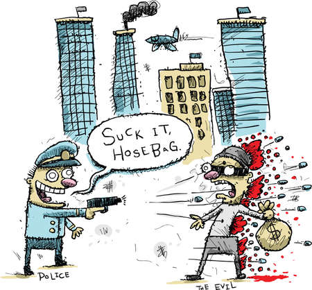 theif: A cartoon police officer stops a theif by shooting him to death and insulting him  Stock Photo