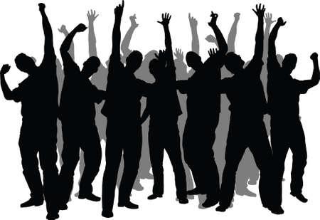 Een menigte silhouet van enthousiaste mensen Stockfoto