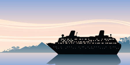 waters: A scene of a cruise ship silhouette on calm, morning waters  Stock Photo