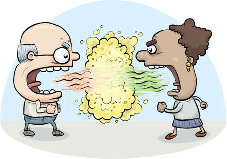 A cartoon man and woman attack one another with their bad breath.