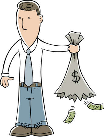 has: A cartoon businessman holds a sack of money that has opened and emptied. Stock Photo