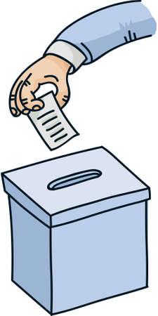 voter: A cartoon hand inserts a ballot into a ballot box