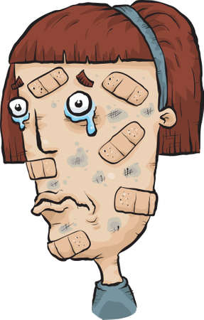 A cartoon woman covered with many bandaids  photo