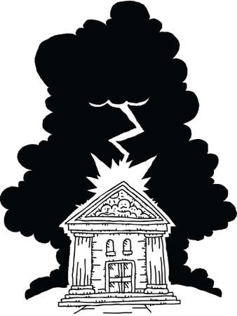 Lightning from a storm strikes a cartoon bank