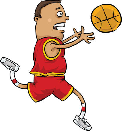 reaches: A cartoon basketball player reaches to catch a basketball  Stock Photo