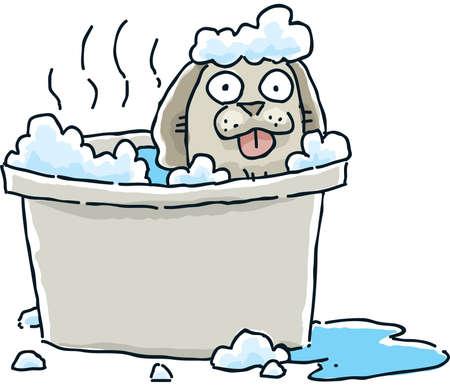 sudsy: A small cartoon dog, happy to be having a sudsy bath  Stock Photo